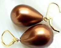charming NEW HUGE AAA 12X16mm Chocolate Shell dangle earrings Pearl Earring