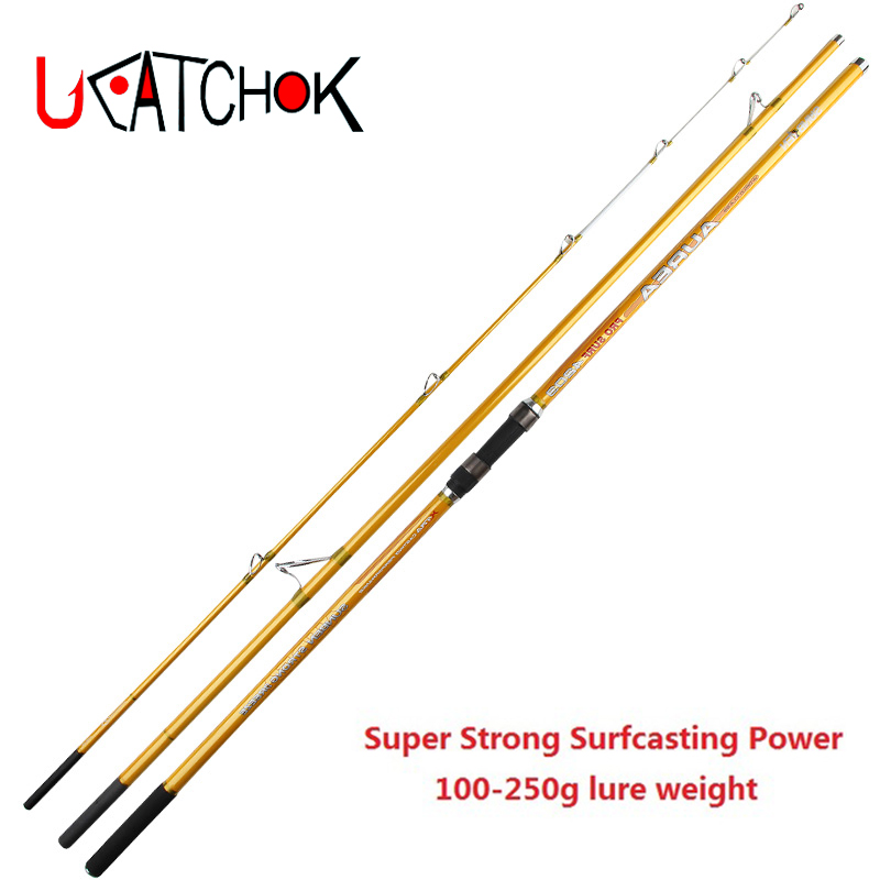 1pcs/pack UCOK Pro Surf 4.2M Casting rod 3 sections imported SK carbon fiber long casting far shot rod surf carp fishing rod ucok 1pcs pack 1 65 1 85m double sections heavy pound no 80 heavy jigging fishing boat rod super drag big game type carbon rod