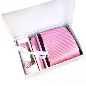 Image 3 - 2020 mens fashion tie set silk neckties dot ties for men tie handkerchief cufflinks gifts box packing mens clothing accessories