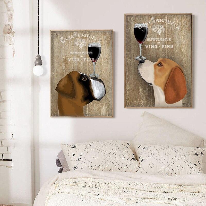 Perro lindo dibujo de la pared impresiones de la lona pintura al ...