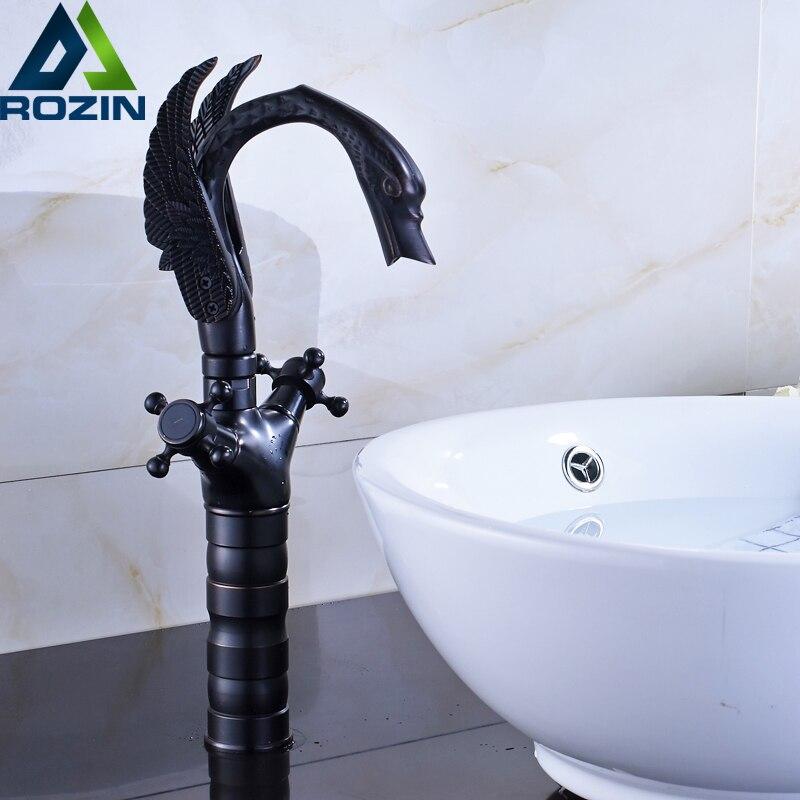 Dual Cross Handle Black Bronze Basin Faucet Deck Mounted Countertop Swan Bathroom Mixer Faucet hot and