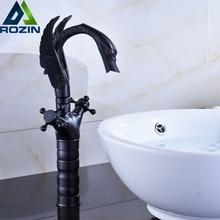 Dual Cross Handle Black Bronze Basin Faucet Deck Mounted Countertop Swan Bathroom Mixer Faucet hot and cold water