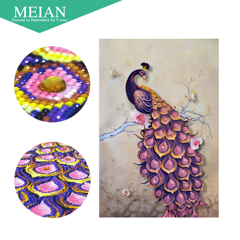 Meian Special Shaped Diamond Embroidery Peacock Forever 5D Full Diamond Painting Cross Stitch 3D Diamond Mosaic