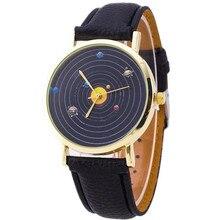 Мужские и женские часы Relogio модные повседневные часы с рисунком планеты из искусственной кожи кварцевые аналоговые часы унисекс наручные часы под платье дешевые оптовые продажи