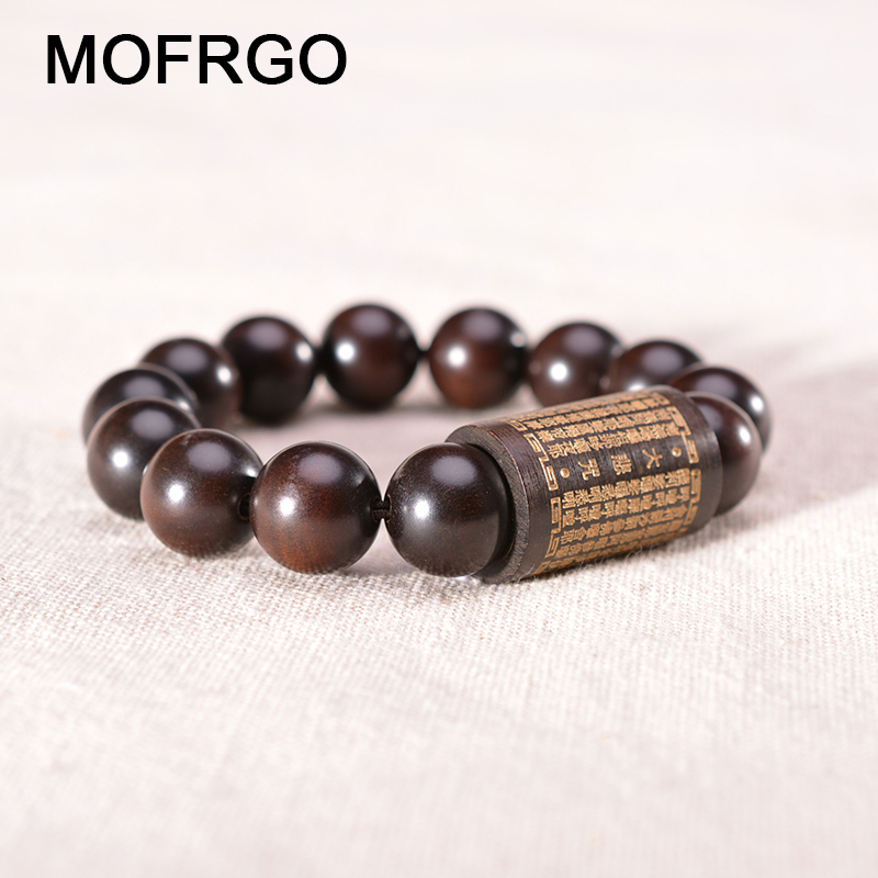 Healing Protection Elastic Beaded Stacking Bracelet Tibetan Buddhist Scriptures Wood Prayer Beads Bracelet for Men Women Jewelry