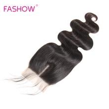 Perruque Lace Closure Remy péruvienne Body Wave-Fashow | 4x4, cheveux naturels, pre-plucked, avec Baby Hair, attaché à la main