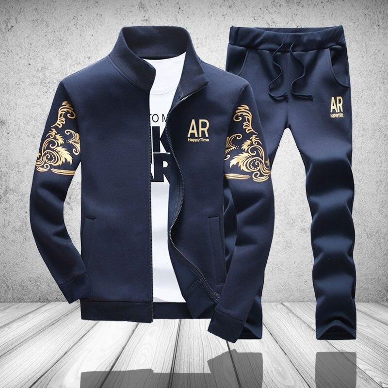 Chándal para hombre Outwear con capucha Set 2 unidades otoño deportivo traje Fitness masculino del Collar del soporte chaqueta sudadera + Pantalones conjuntos