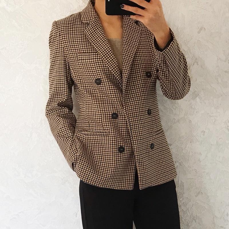 2019 Autunm Women Blazers And Jackets Suit Casual Plaid Blazer Button Decorative Suit Coat