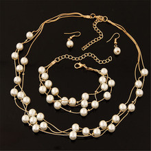 ECODAY Bridal Wedding Jewelry Sets for Women Pearl Earrings Multilayer Bracelet Pearl Necklace Set Bijoux Mariage Jewellery stylish multilayer faux pearl round lace bracelet for women