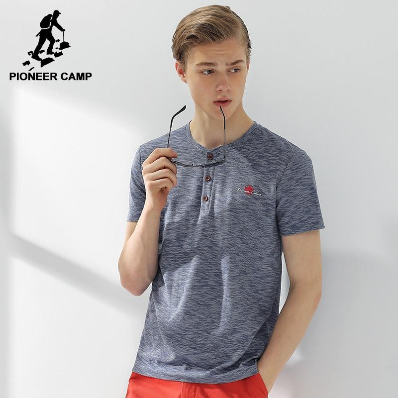 Pioneer camp new half open collar t shirt men brand for Button collar t shirt
