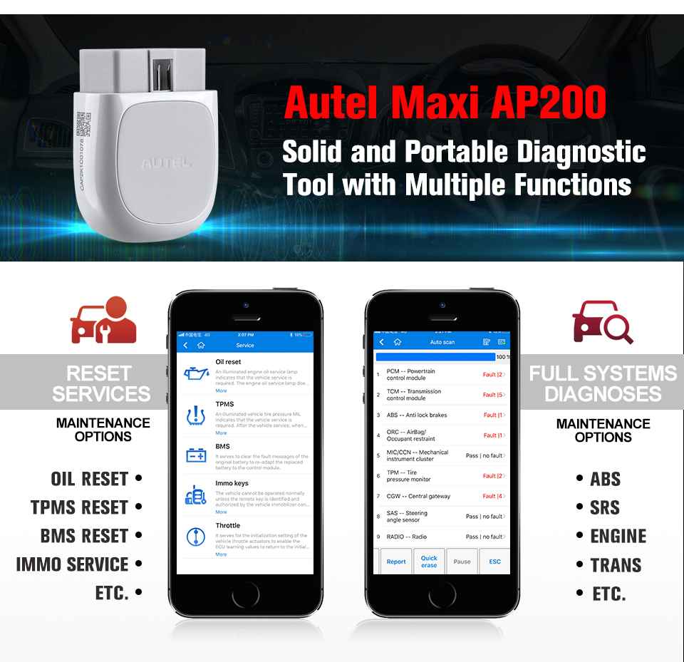 Image 3 - Autel AP200 Bluetooth OBD2 Scanner Code Reader Full System Diagnostic Tool AutoVIN EPB BMS SAS TPMS DPF IMMO PK MaxiCOM MK808
