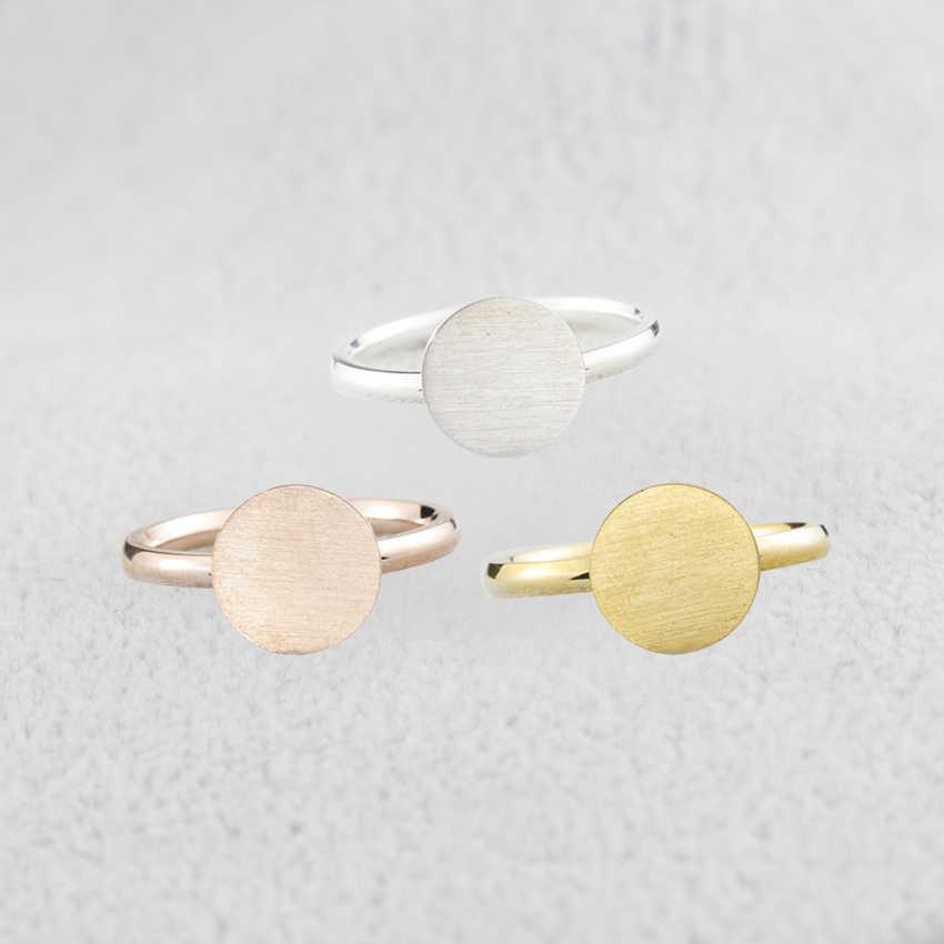 ทองสี Anel Dainty Full Moon แหวนของขวัญเพื่อนที่ดีที่สุดรูปเหรียญเครื่องประดับสแตนเลสรอบ Signet แหวนสำหรับผู้หญิง
