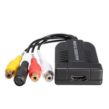 1080P AV and S-Video To HDMI Audio Adapter Converter With USB Cable For HDTV DVD