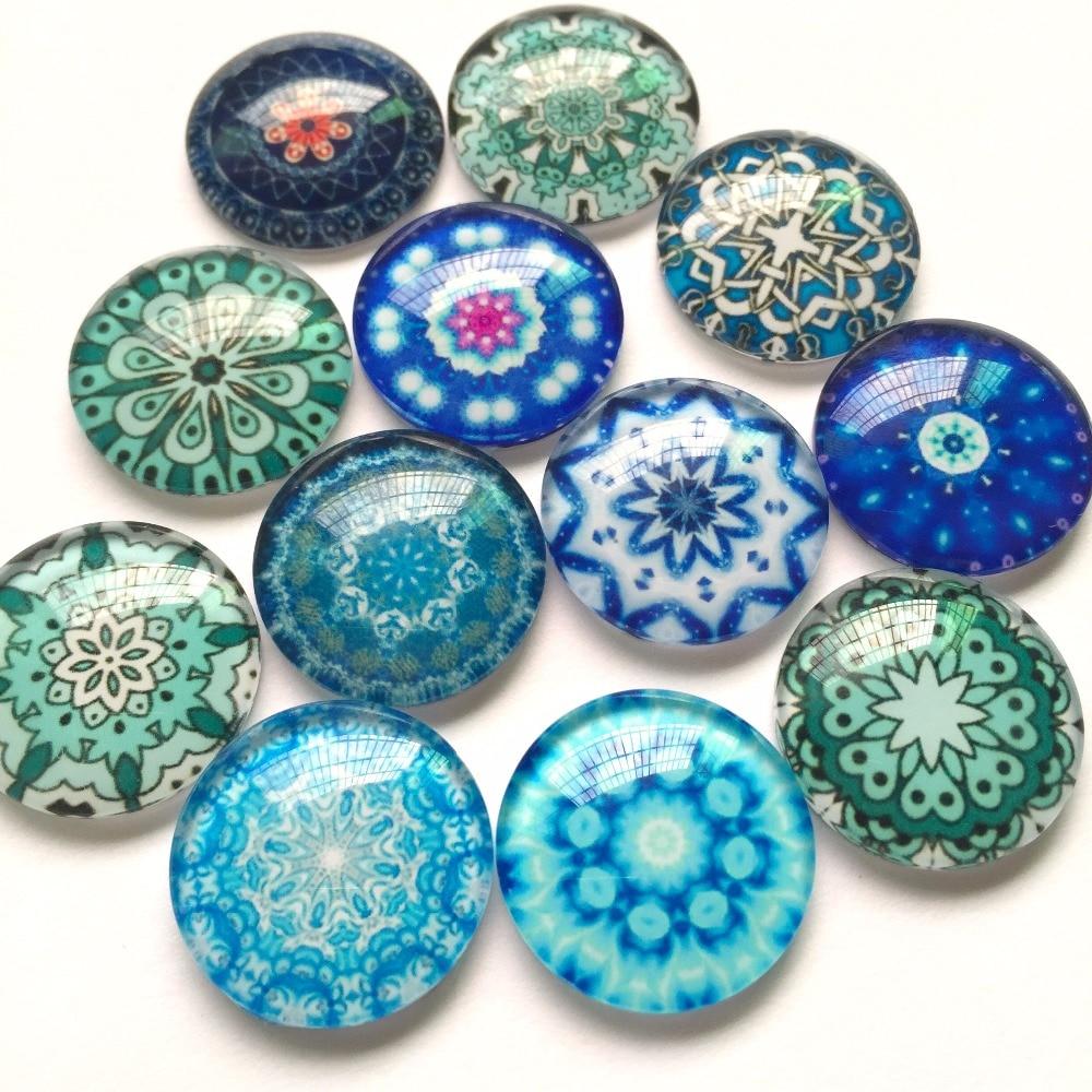 15 pcs  Glass Domed round Cabochons mix oriental pattern size 20mm