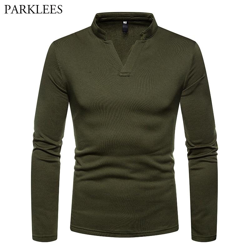 Army Green Men Henley Shirt 2018 Brand New Plus Velvet V Neck T Shirt Men Slim Fit Long Sleeve T-shirt Male Camisetas Hombre XXL