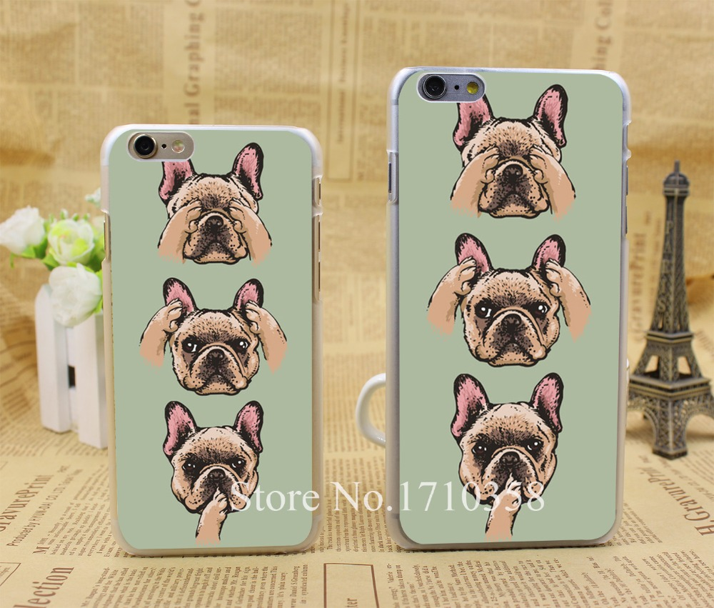no evil  frenchie Style Fashion Hard Transparent Clear Back Style Case for iPhone 6 6s 6 plus Cover