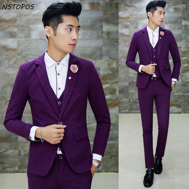 Jacket Vest Pant Brigeroom Wedding Suit For Men Purple Prom Party Business Designer