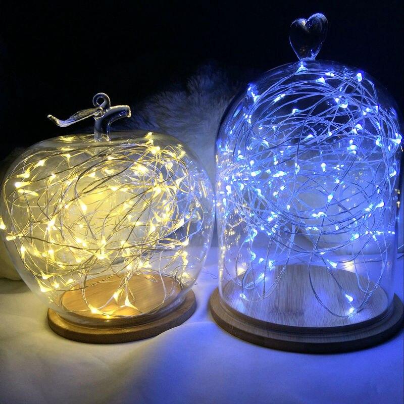 Гирлянды светодиодные 3 * AA Батарея Powered декоративные Silver String Рождество огни 2 м/5 м/10 теплый белый белый для Рождество Свадебная вечеринка