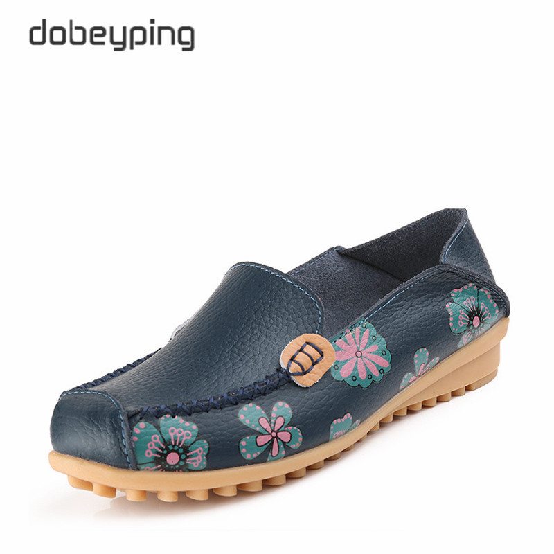 Printing Flower Genuine Leather Women Shoes Fashion Moccasins Shoes Woman Slip On Female Flats Casual Loafers Plus Size 35-42 casual shoes 2016 fashion genuine leather loafers moccasins slip on flats shoes black golden sliver 3 colors