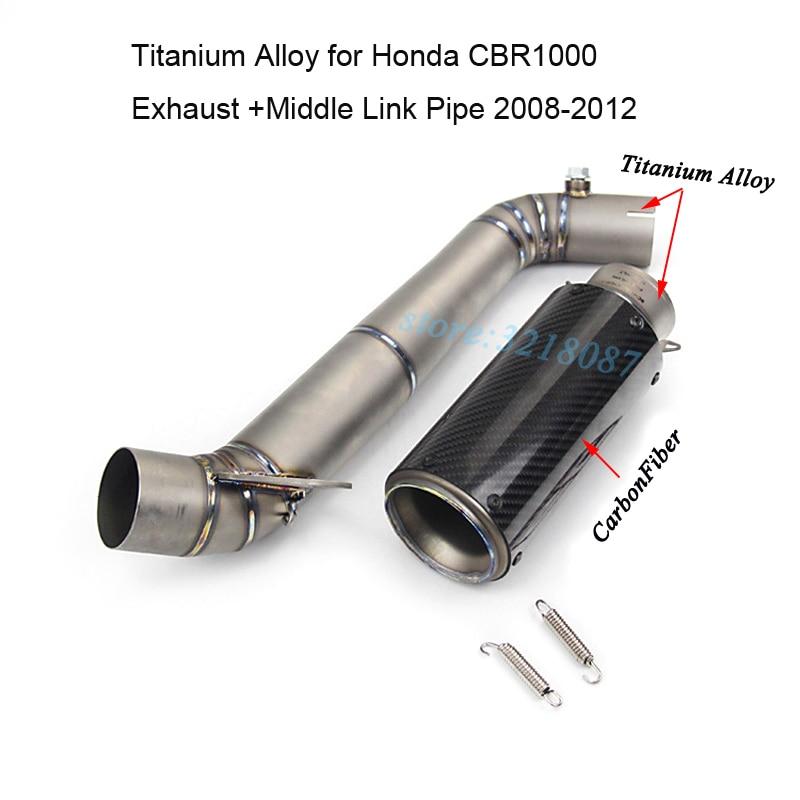 Мотоцикл выхлоп полный Системы Титан сплава с Стикеры среднего звена трубы из углеродного волокна глушитель для HONDA CBR1000RR 2008 2012