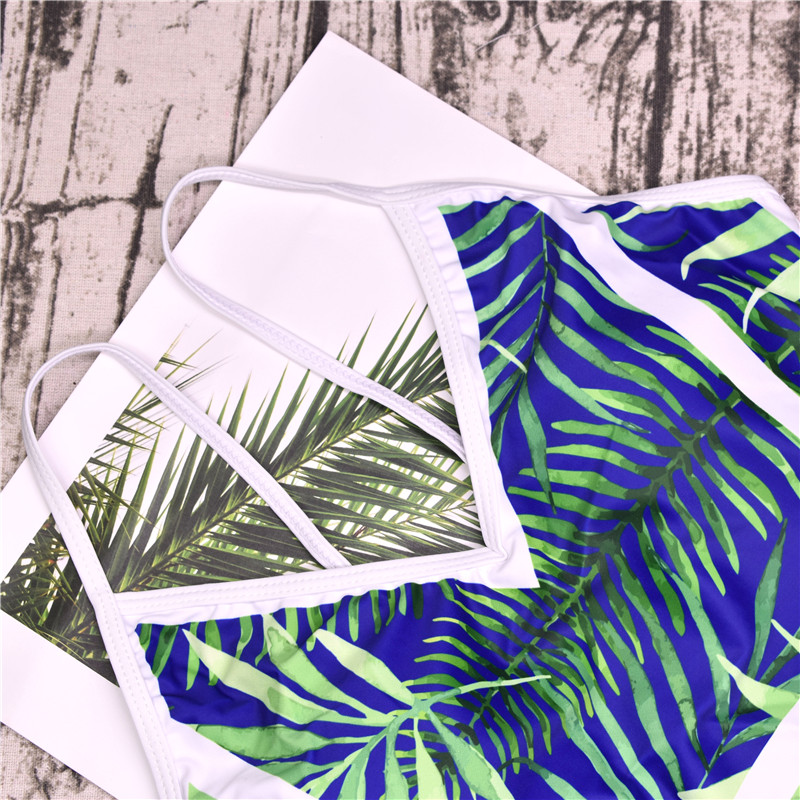 2018 New Green Leaf Swimsuit Sexy One Piece Swimwear Women Swimsuit Backless Pineapple Bathing Suit Swimming Suit Monokini 18