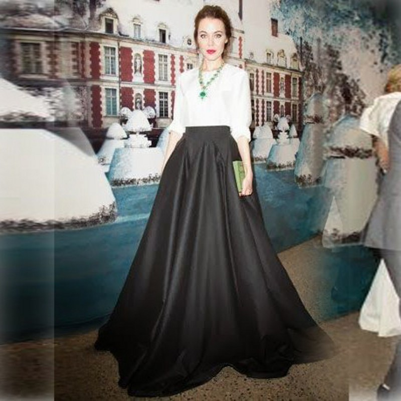 Top Fashion Women Skirts A Line Floor Length Black Long ...