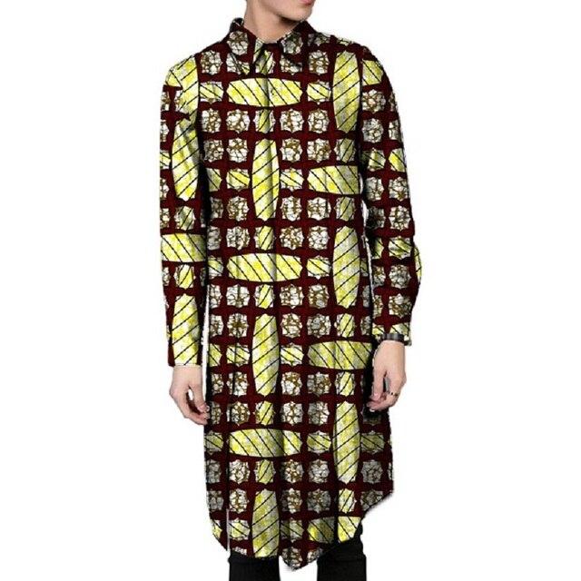Африка стиль печати dashiki одежда лоскутная выключите воротник топы мода мужская полный рукав длинный африканских рубашка специально сделано
