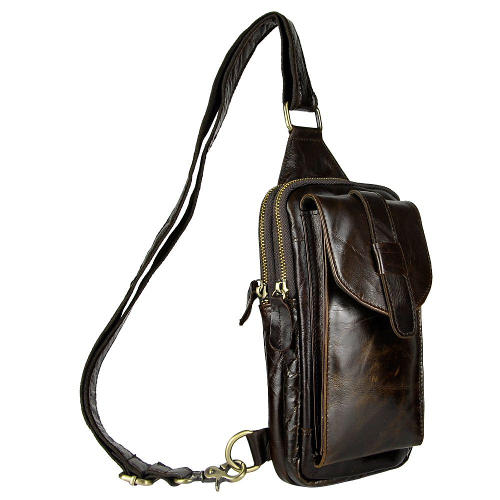 Top Quality Mens Genuine Real Leather Cowhide Vintage Wait Chest Pack Bag Sling Crossbody Bag Daypack XB571