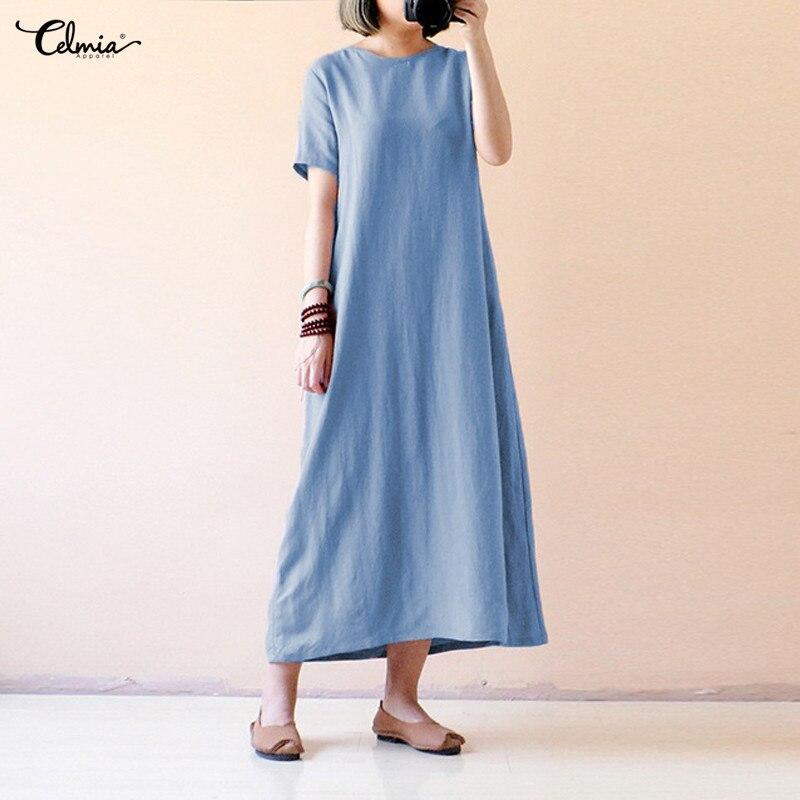 Celmia Women Summer Linen Dress 2018 Casual Round Neck Short Sleeve Solid Loose Party Maxi Vestidos Robe Femme Plus Size 5XL 4XL