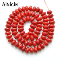 5pcs High Quality 5x8mm UFO Roundel Shape Red Coral Beads 16 Jewelry Making Materials
