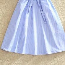 2018 Elegant Office Summer Dress Shirt Elegant Blue Stripped Cotton Turn Down Collar Wear to Work Shirts Women Dresses #BD728