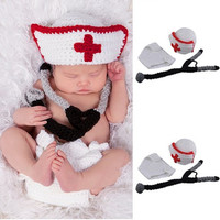 Cute Baby Nurse Outfit Photograph Dress Dress Up Handmade Baby Shower Gift Three Piece Boys And