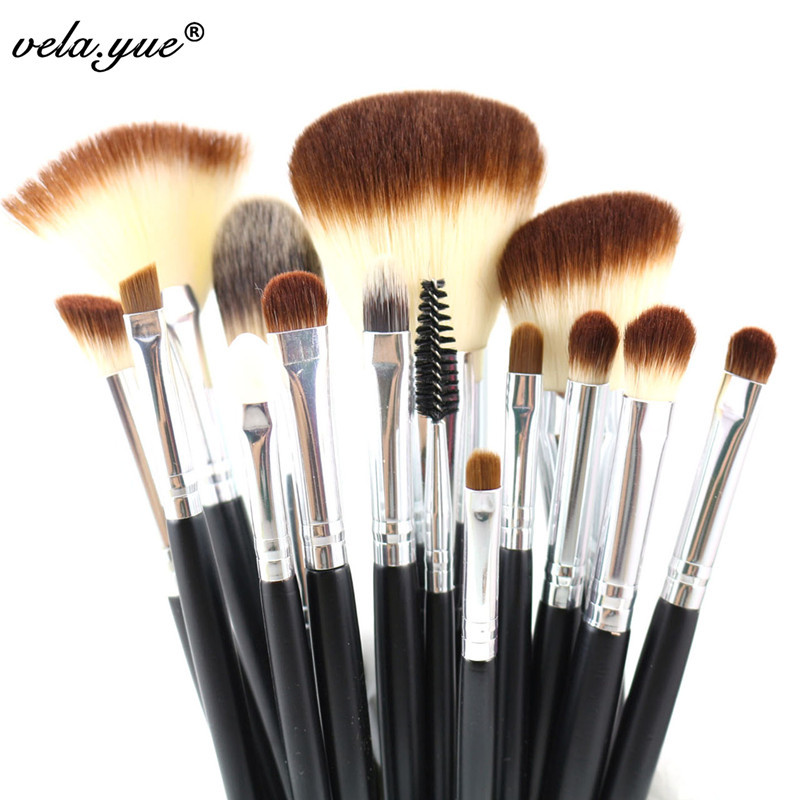 Professional Makeup Brushes Set 15pcs High Quality Makeup Tools Kit Black stylish folding pu leather business