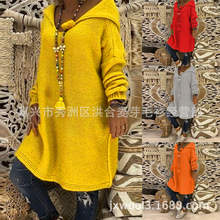 Womens sweater casual loose hooded plus long sleeve women