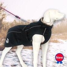 Водонепроницаемая куртка для больших собак, зимняя одежда для собак, флисовая одежда для домашних животных, теплое ветрозащитное пальто для больших собак, черные, красные товары для собак