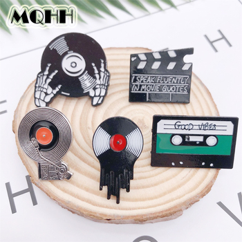 Creative Music Vintage CD Tape Movie Pause Skeleton Enamel Brooch GOOD VIBES Geometry Badge Denim Shirt Bag Pin Rock Jewelry image
