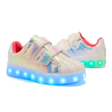 2018 Children s Casual Shoes Autumn and Winter Shell Shine Sneakers USB Rechargeable Boys and Girls