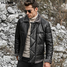 FLAVOR Men's Real Leather Down Jacket Men Genuine Lambskin Winter Warm Leather Coat with Turn Down Sheep Fur Collar(China)