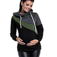 בתוספת גודל הריון סיעוד ארוך שרוולים יולדות בגדי סלעית הנקת חולצות טלאי חולצה לנשים בהריון