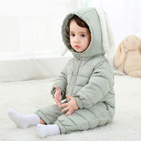 2017 Spring Winter Warm Baby Girl Boy Snowsuit Down Cotton Baby Rompers Hoodies Newborn Overalls Clothes