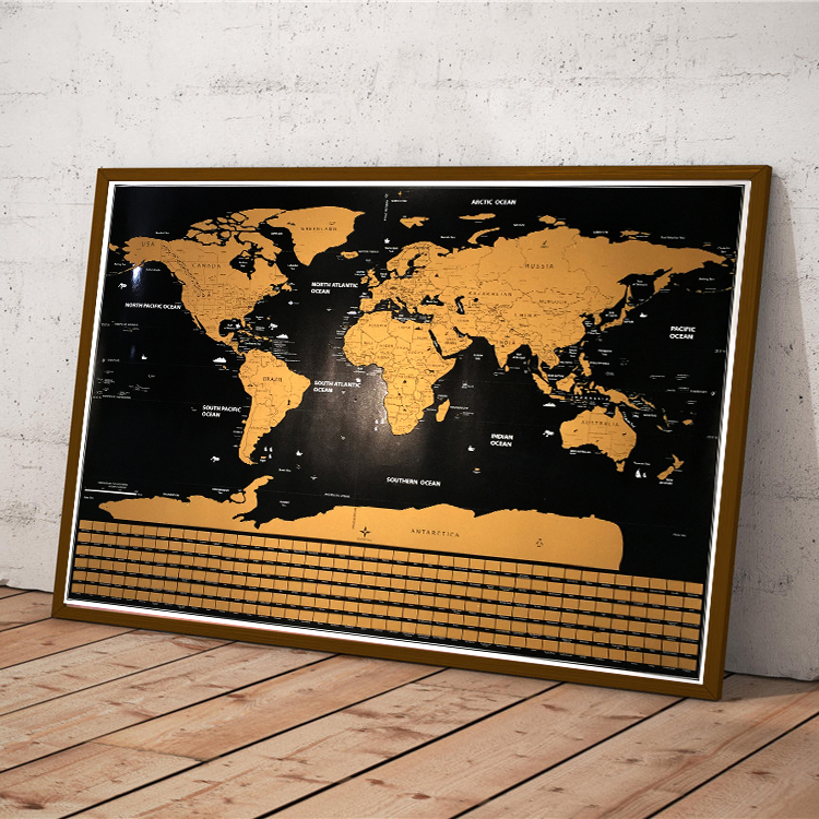 Mapa del mundo rayado de oro, mapa de viaje de gran tamaño. Perfecto para el mapa de los viajeros con la bandera del país Envío Directo 59 cm 82