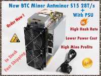 Utilisé BITMAIN BTC BCH SHA-256 mineur AntMiner S15 28 T avec PSU Bitcoin mineur mieux que S9 S9i S9j T9 + joyeusminer M3 M10 M10S