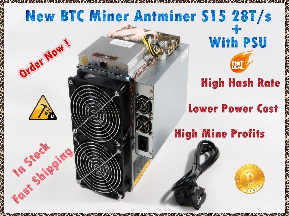 Utilizzato BITMAIN BTC BCH SHA-256 Minatore AntMiner S15 28T Con ALIMENTATORE Bitcoin Minatore Meglio di S9 S9i S9j T9 + WhatsMiner M3 M10 M10S