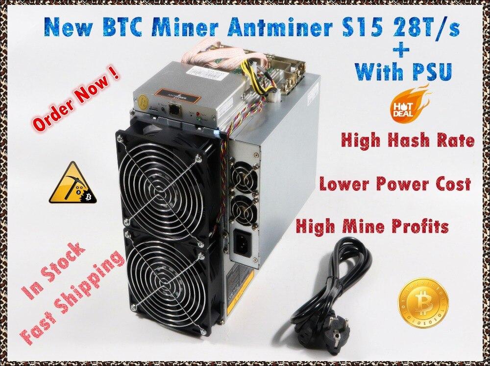 Utilizzato BITMAIN BTC BCH SHA-256 Minatore AntMiner S15 28 T Con ALIMENTATORE Bitcoin Minatore Meglio di S9 S9i S9j T9 + WhatsMiner M3 M10 M10S