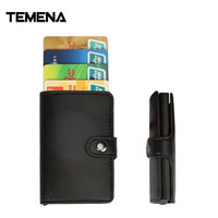 Temena High Quality Women Men ID Credit Card PU Leather Wallet Card Money Package Box Aluminum