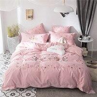Розовый Единорог Вышивка постельных принадлежностей постельное белье пододеяльник девушки взрослых краткое стиль принцессы домашний тек