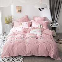 Pink Unicorn Embroidery bedding set bed linen duvet cover girls adult brief style princess home textile bedclothes bedspread