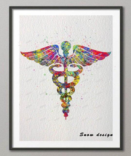 Tienda Online Original símbolo de la medicina del Caduceo acuarela ...