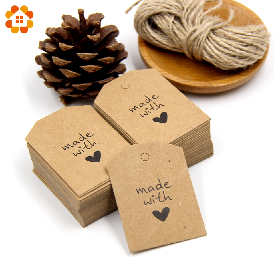 50PCS Paper Tags with Rope Handmade with Love Paper Card Tags Labels DIY Crafts Hang Tag Gift Wrapping Supplies <font><b>Wedding</b></font> Favors image