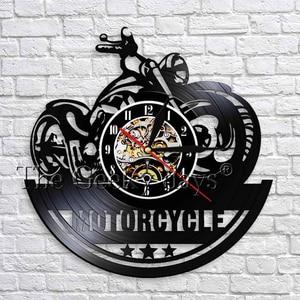 Klasyczny w kształcie motocykla 3D zegar ścienny z oświetleniem LED garaż znak motocykl Vintage płyta winylowa zegary ścienne zegar dekoracyjny do domu 12